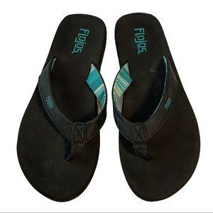 FLOJOS black flipflops teal / aqua accents Size 8